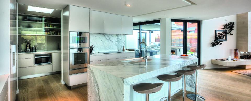 Sleek stylish and modern kitchen in this new home build by AJ Saville Builder
